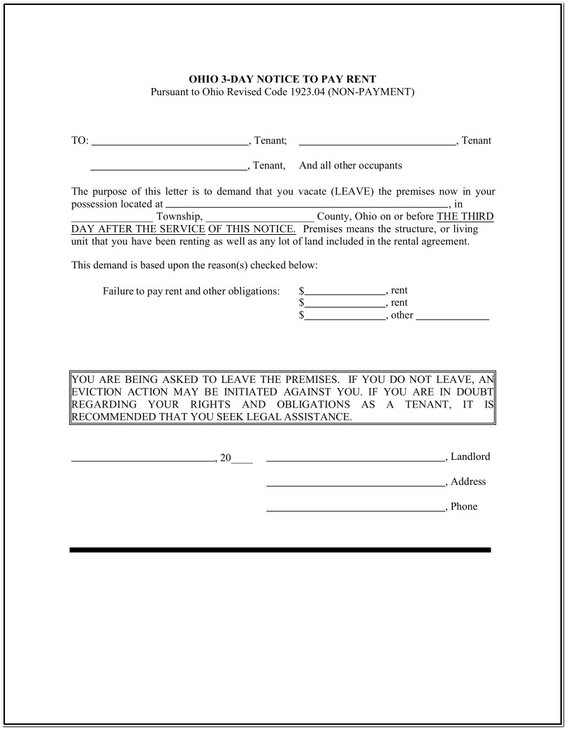 Ohio Legal Eviction Forms