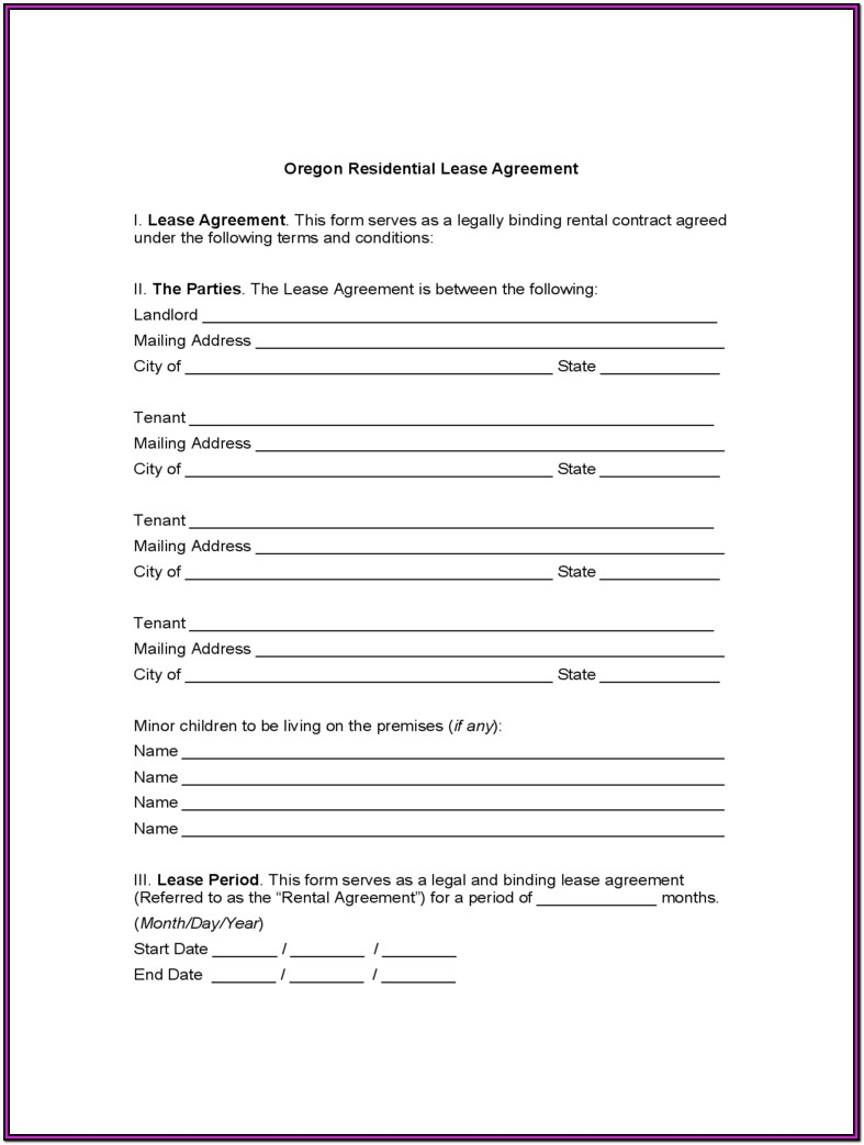Oregon Commercial Lease Agreement Forms