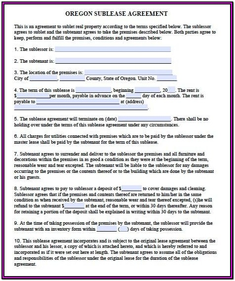 Oregon Residential Lease Agreement Form