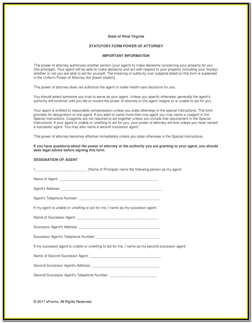 Power Of Attorney Form Wv Dmv