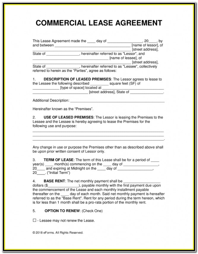 Free Commercial Rental Lease Agreement Templates Pdf Word With Nyc Lease Renewal Form