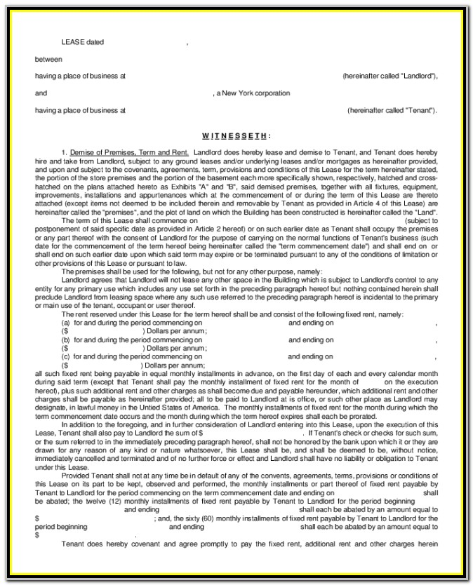 Standard Form Of Store Lease New York Pdf