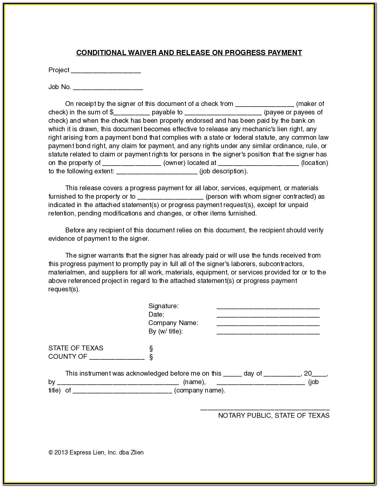 Subcontractor Lien Waiver Form California