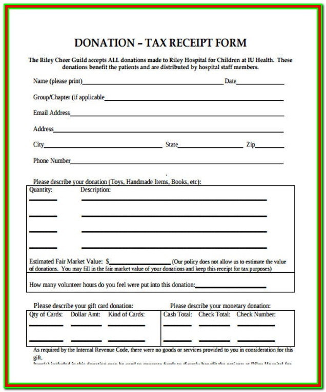 Tax Donation Receipt Form