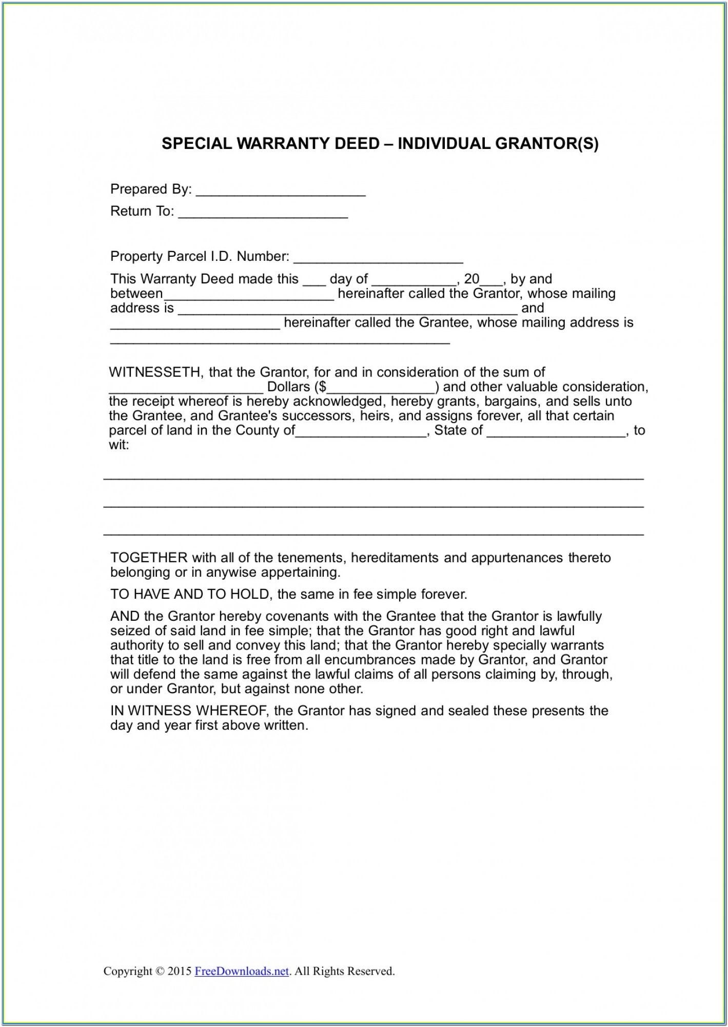 Texas Special Warranty Deed With Vendor's Lien Form