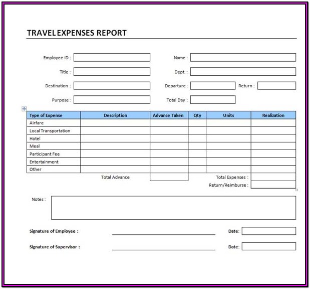 Travel Expense Form Template