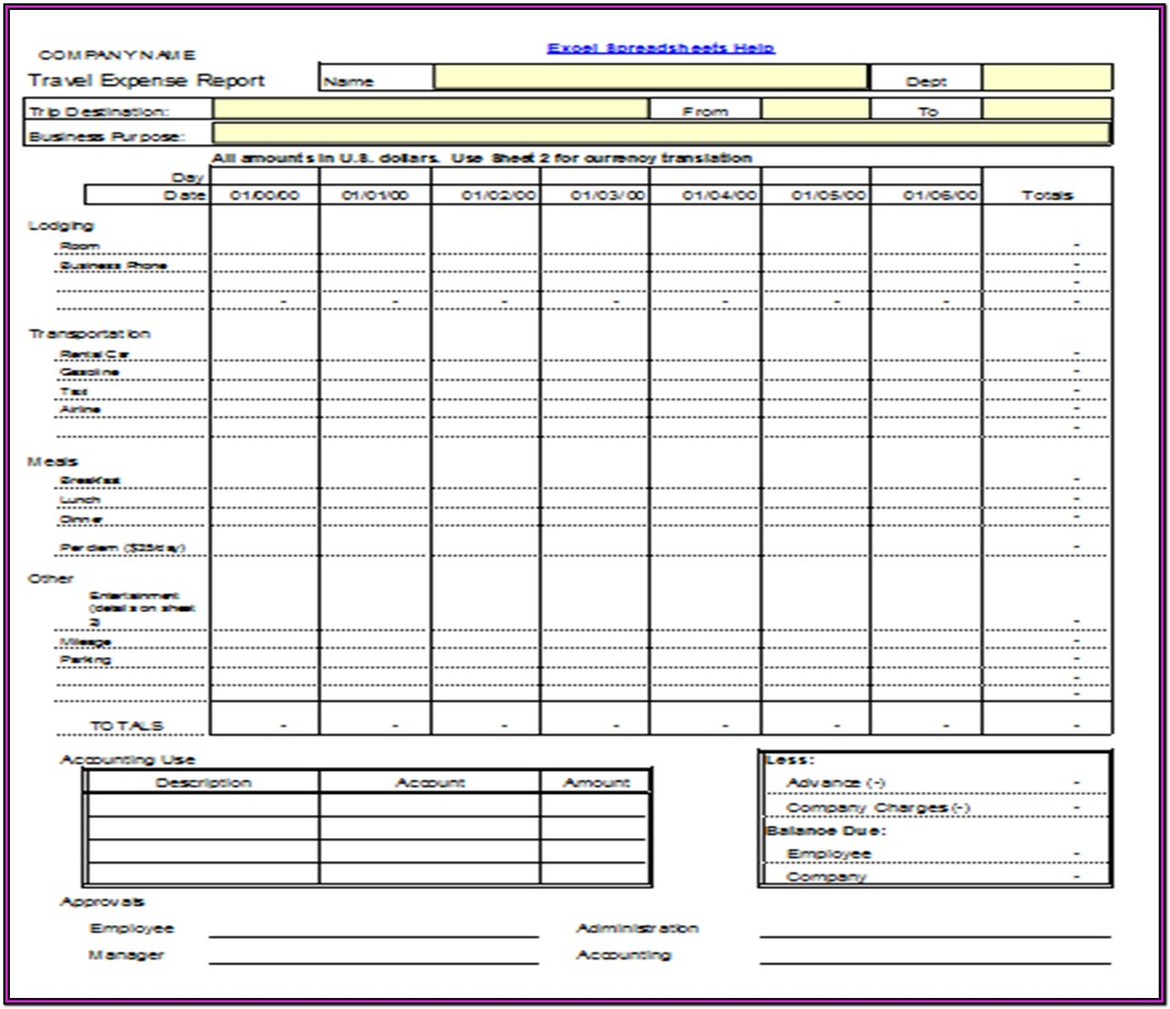 Travel Expense Reimbursement Form Excel
