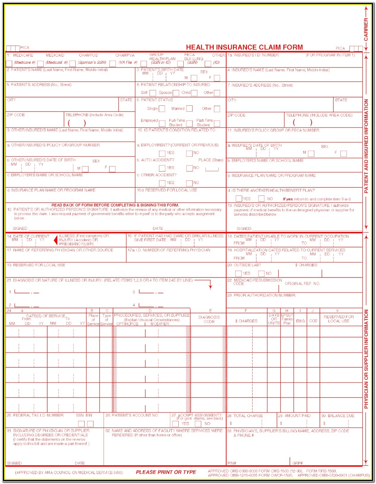 Unitedhealthcare Health Insurance Claim Form 1500
