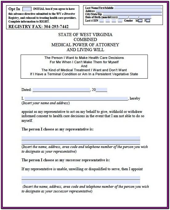 Virginia Advance Medical Directive Form