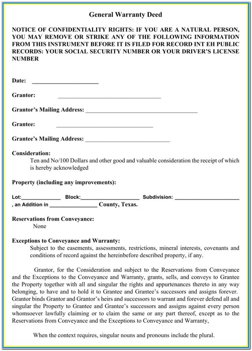 Warranty Deed Texas Form