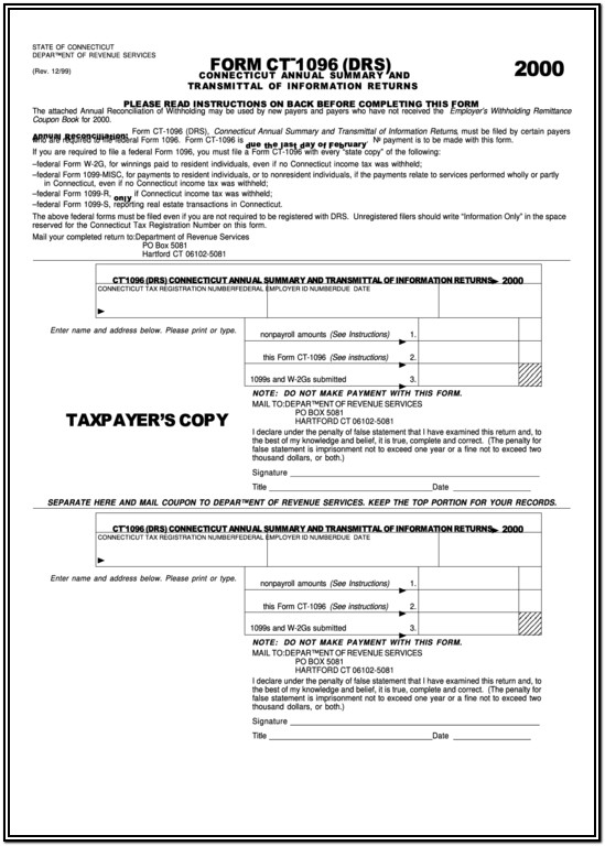 1096 Annual Summary Transmittal Form