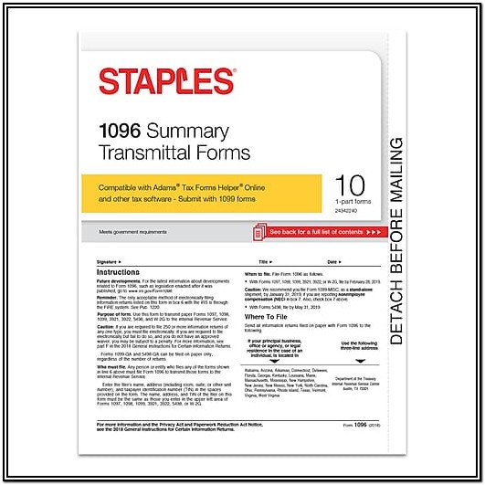1096 Summary Transmittal Form