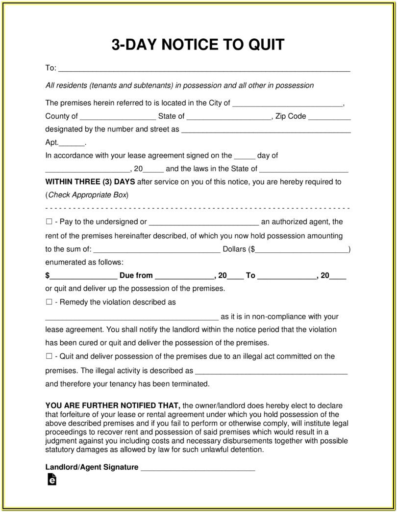 3 Day Eviction Notice Form Florida Pdf