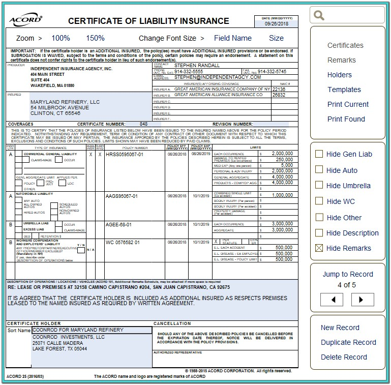 Acord 101 Form Fillable