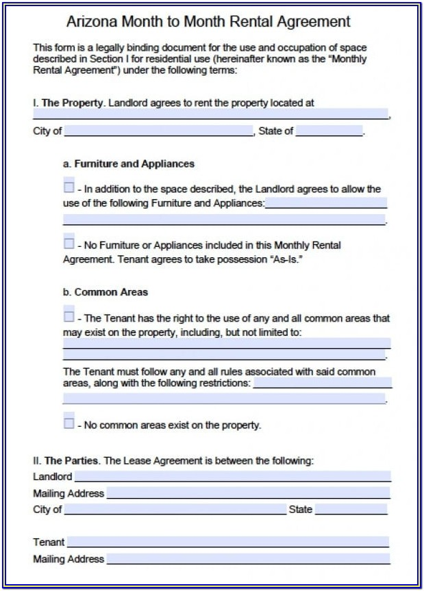 Az Rental Agreement Forms Free