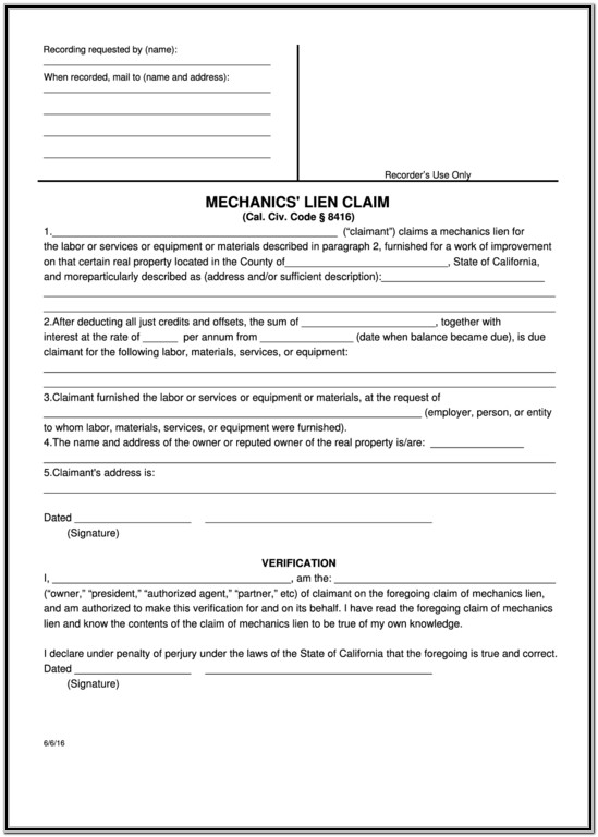 Blank Mechanics Lien Form California