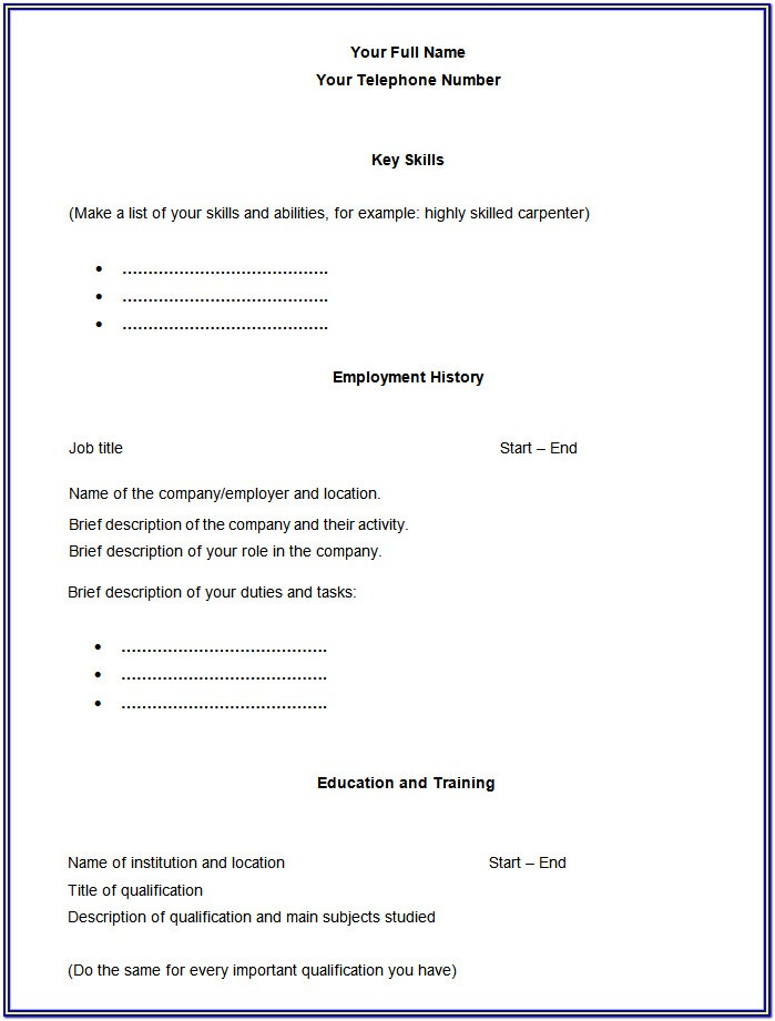 Blank Resume Forms Free Download