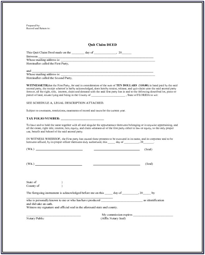 Blank Warranty Deed Form Florida