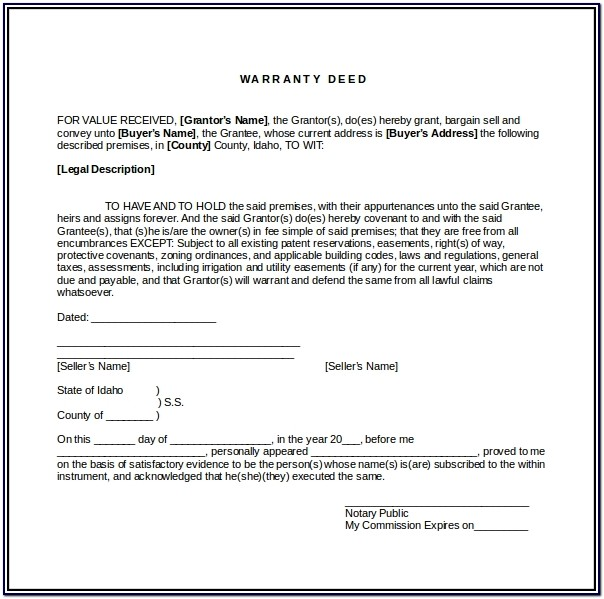 Blank Warranty Deed Form Mississippi
