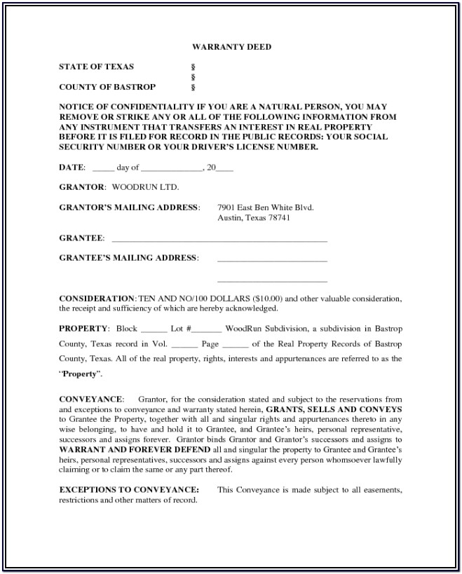 Blank Warranty Deed Form Texas