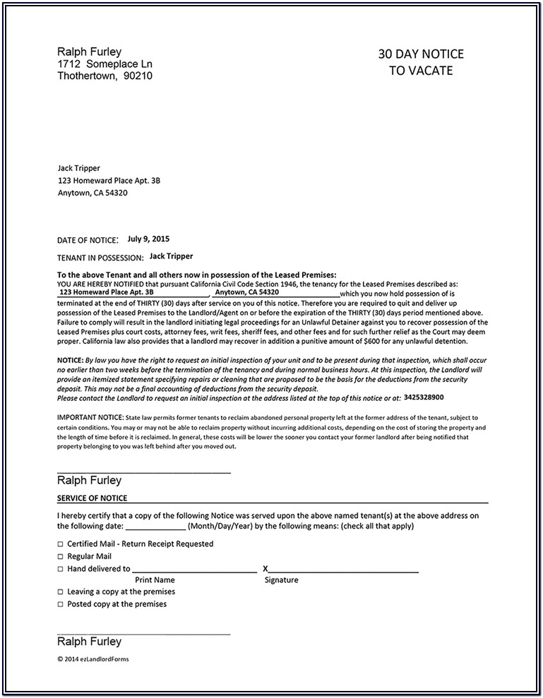 California Landlord Notice To Vacate Form