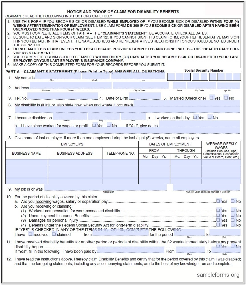 California State Disability Benefits Form