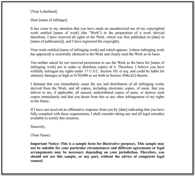 Cease And Desist Sample Letter