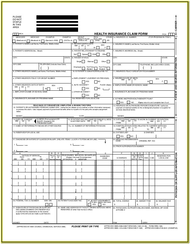 Cms 1500 Form Fillable Pdf