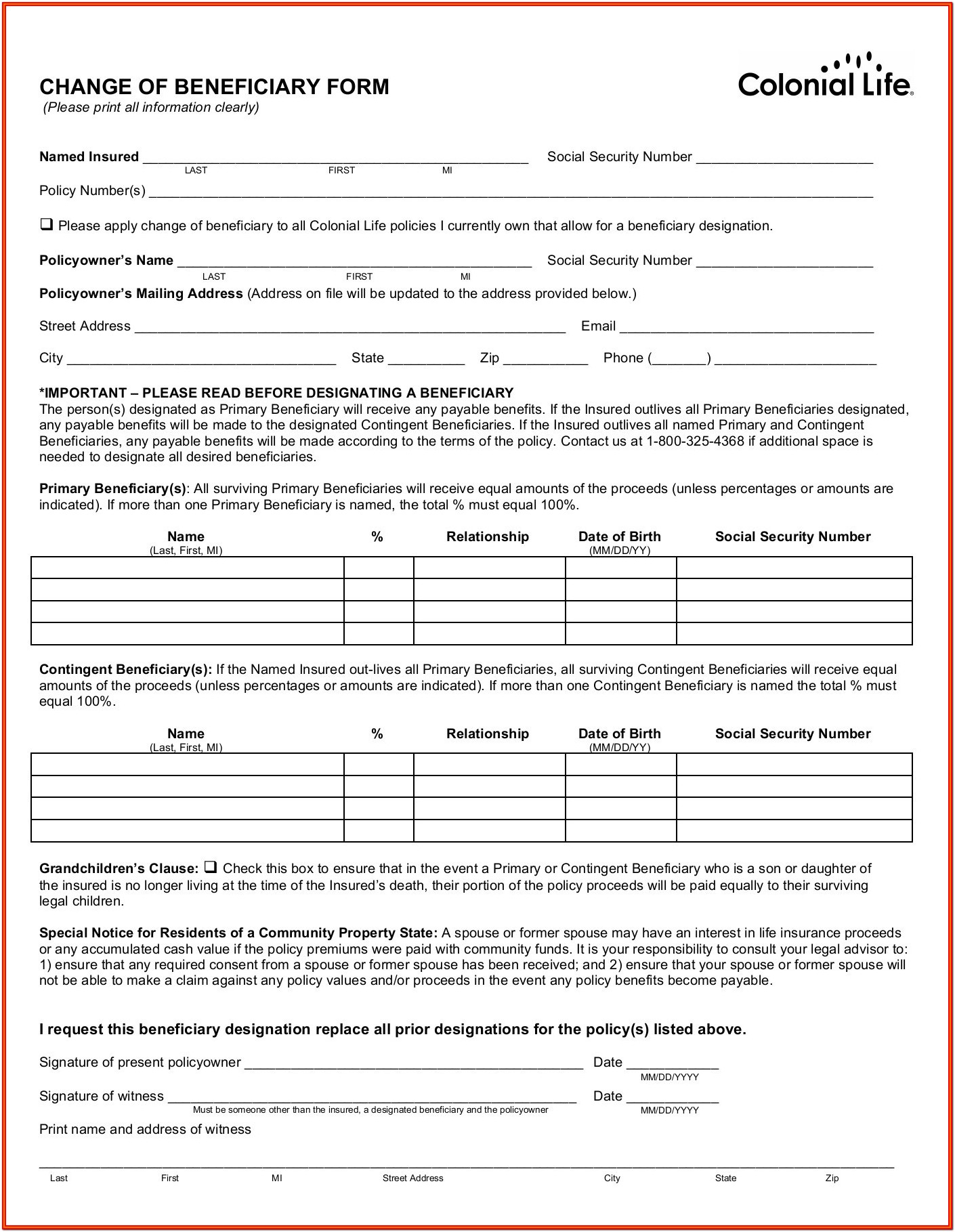 Colonial Life Insurance Universal Claim Forms