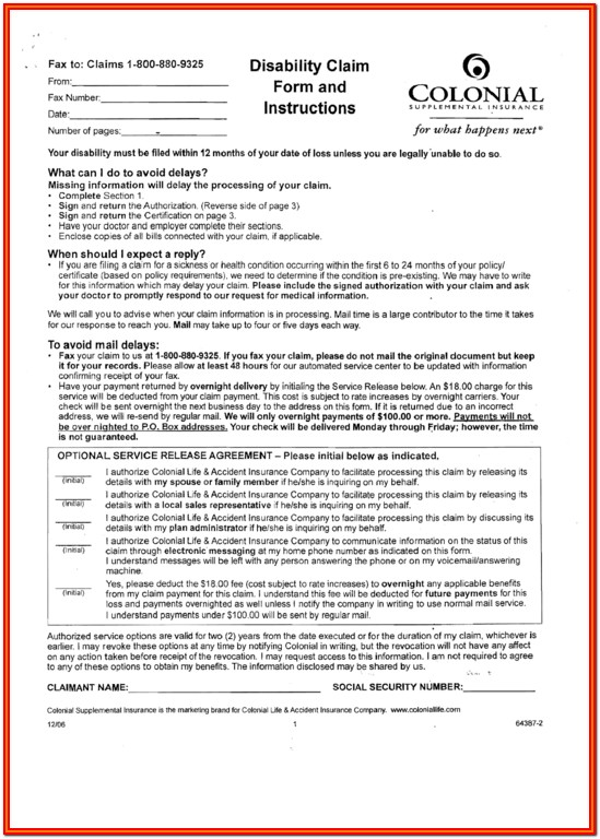 Colonial Life Insurance Wellness Claim Forms