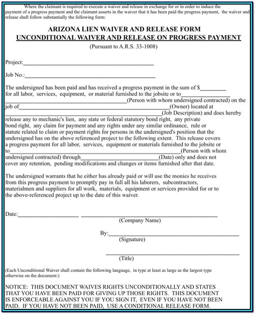 Conditional Lien Waiver Form Arizona