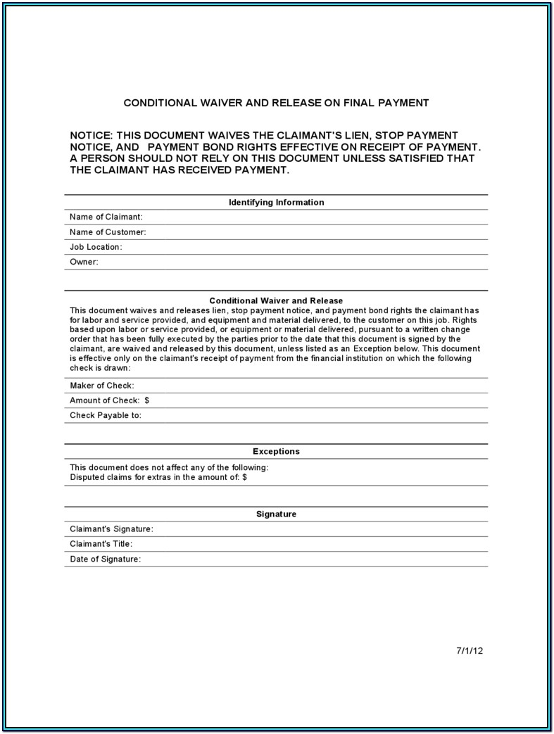 Conditional Lien Waiver Form California