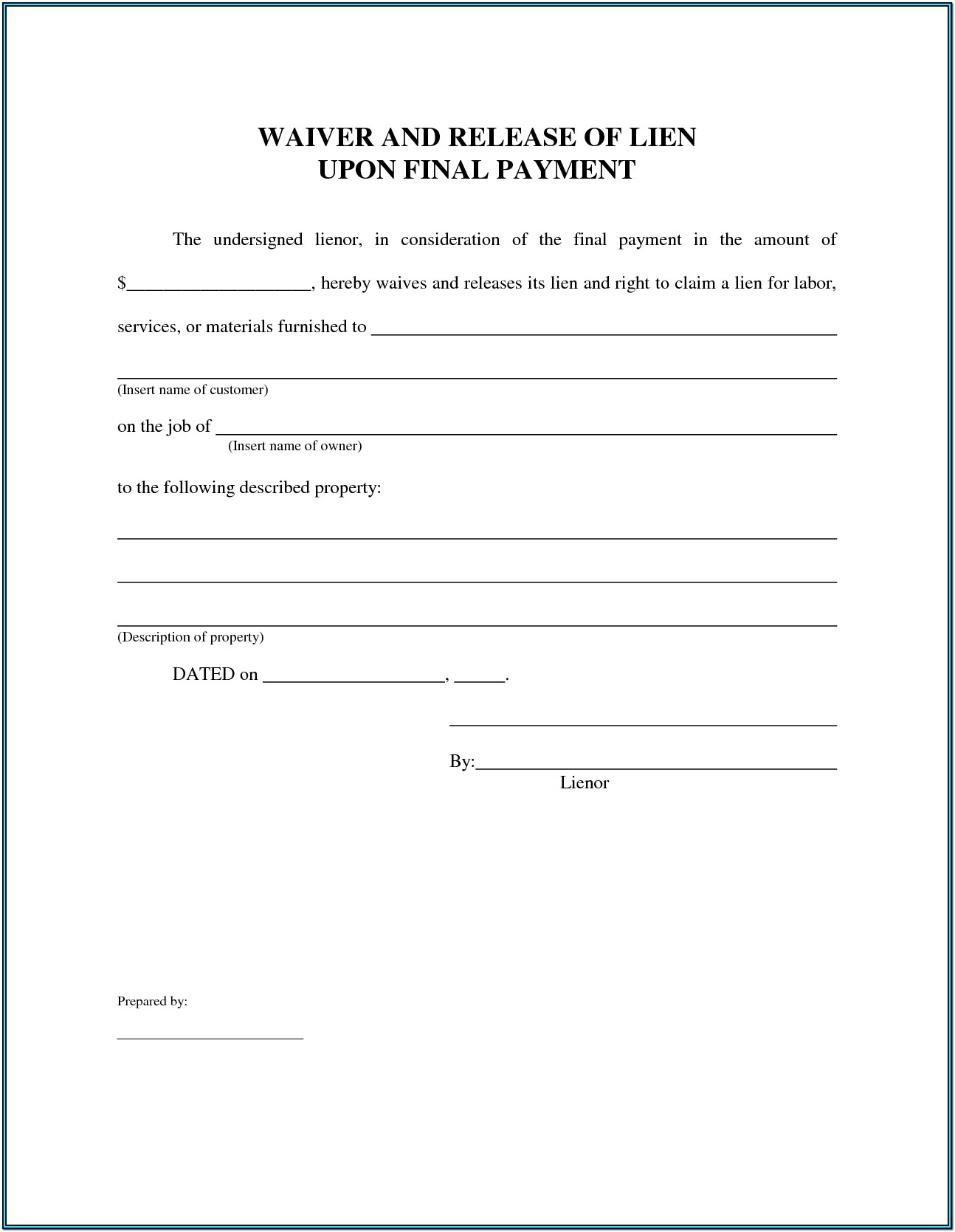 Conditional Lien Waiver Form Florida