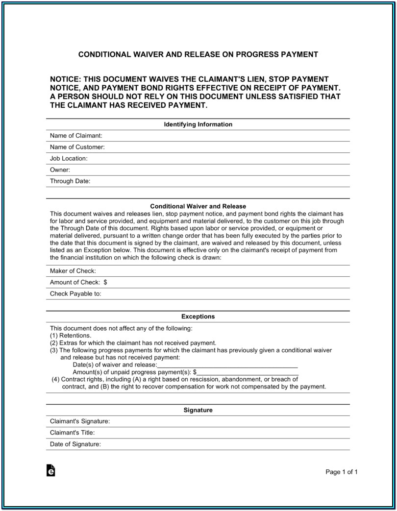 Conditional Lien Waiver Form Mn