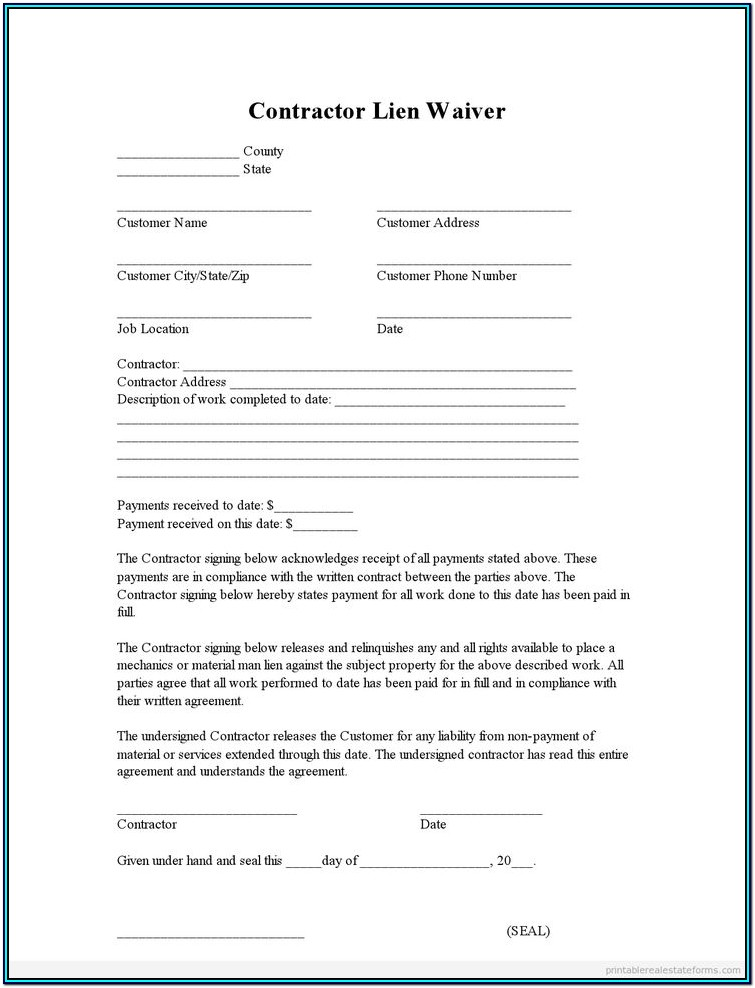 Conditional Lien Waiver Form Texas