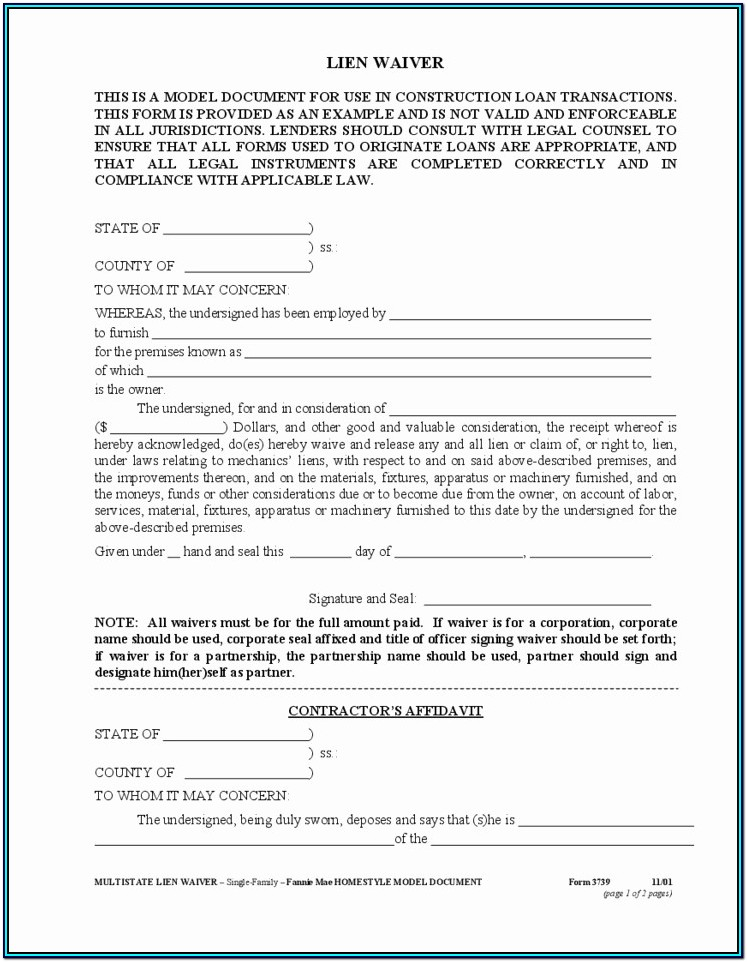 Conditional Lien Waiver Form Wisconsin