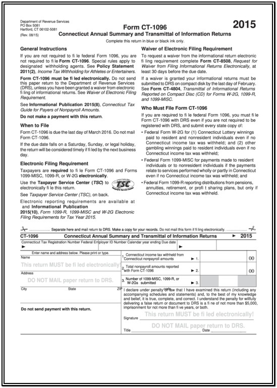 Ct 1096 Transmittal Form