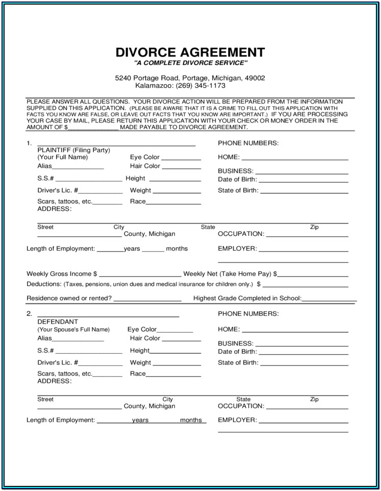 Divorce Paperwork Michigan