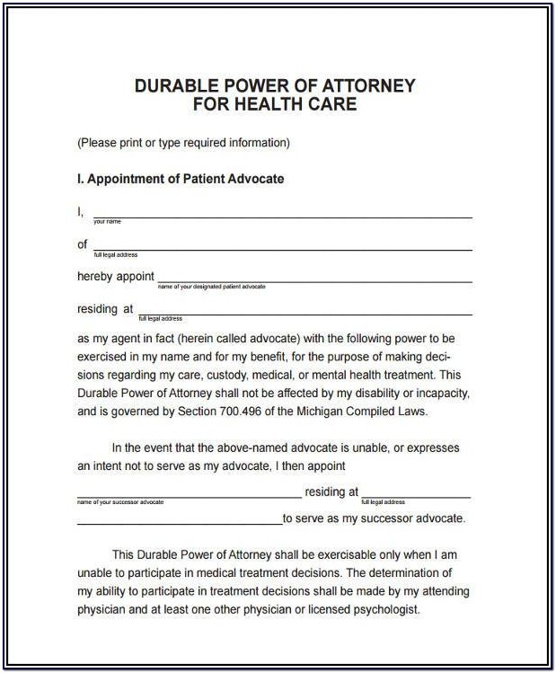 Durable Power Of Attorney For Health Care Form Missouri