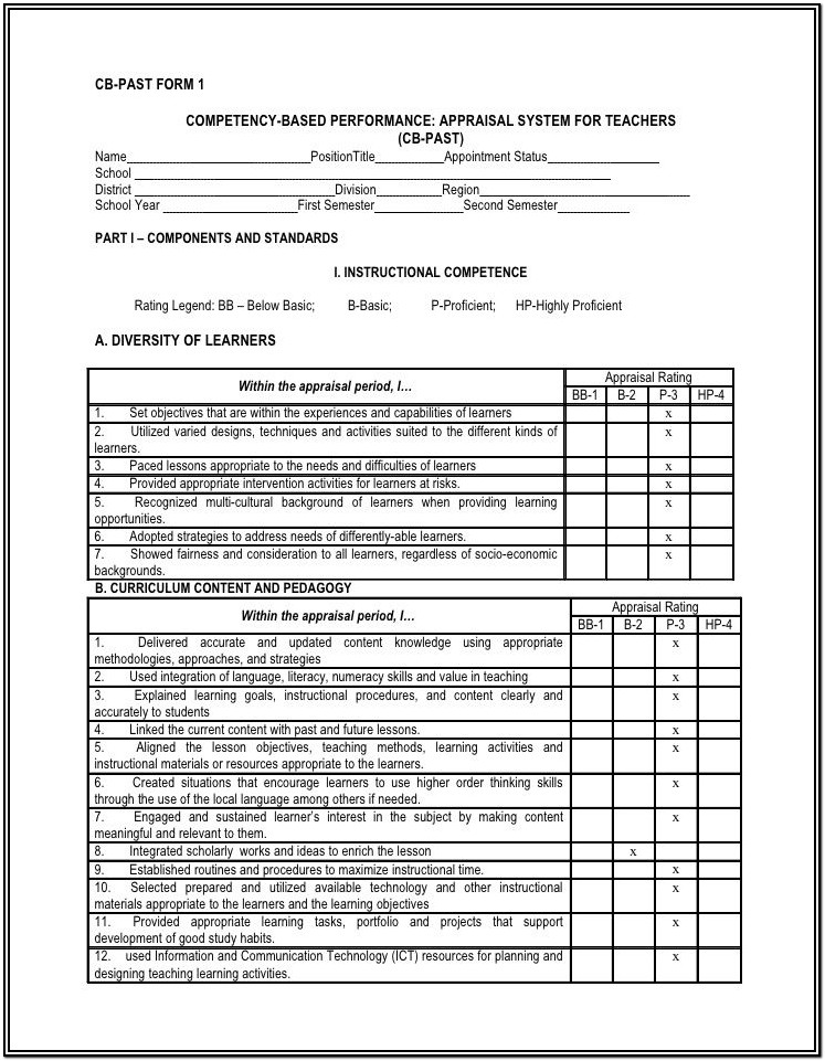 Esl Teacher Performance Evaluation Form