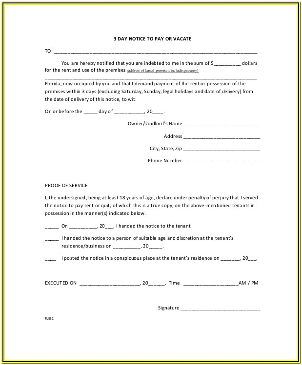 Eviction Notice Form Florida Free