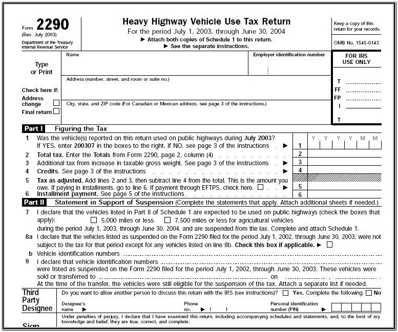 Federal Highway Tax Form 2290