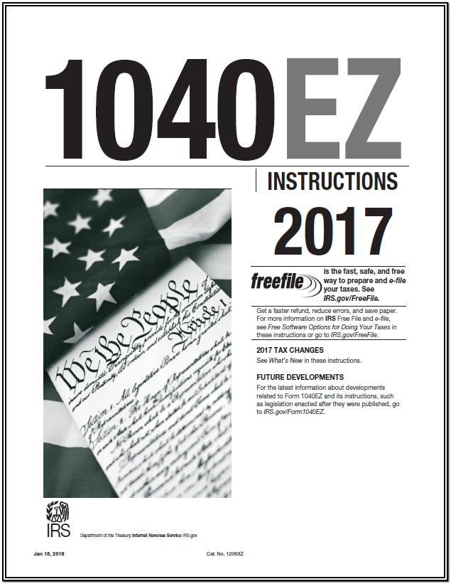 Federal Income Tax Form 1040ez 2017