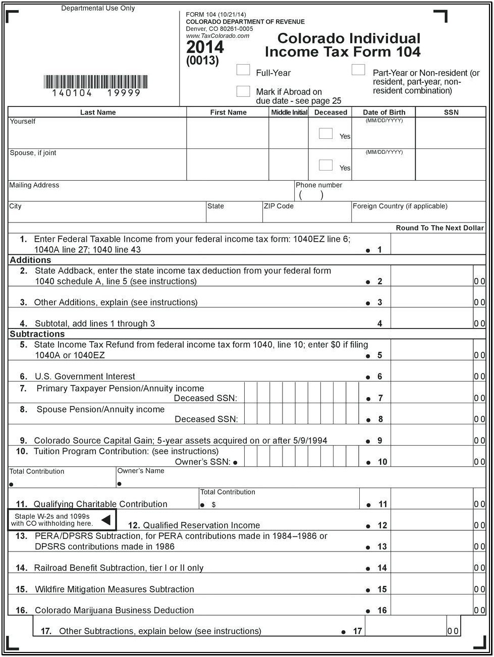 Federal Income Tax Return 1040ez