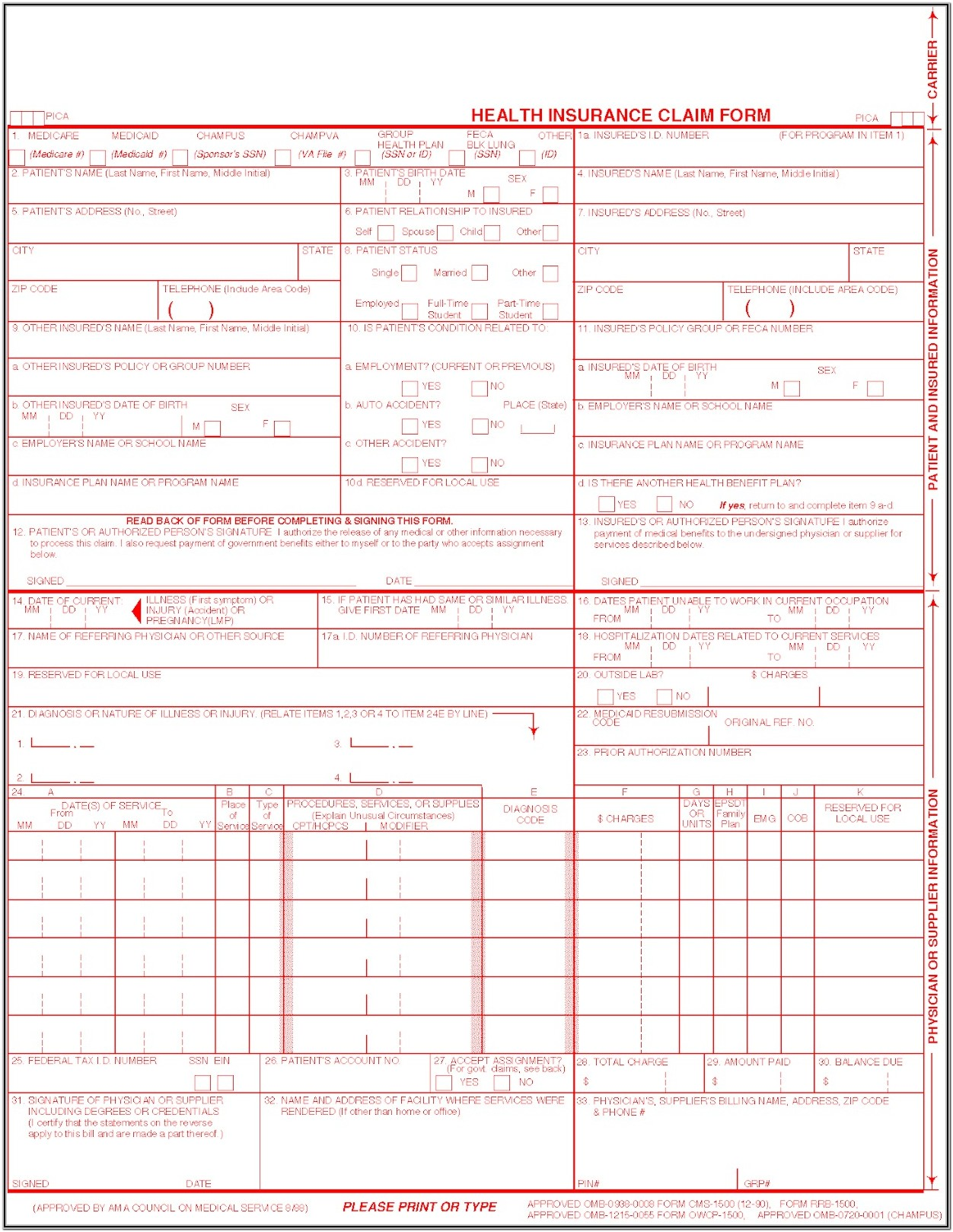 Fillable Cms 1500 Claim Form Pdf