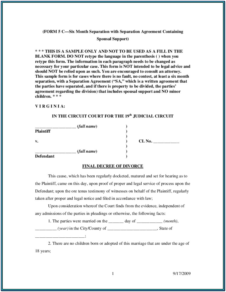 Final Decree Of Divorce Form Virginia