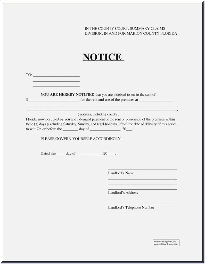 Florida Landlord Notice To Vacate Form