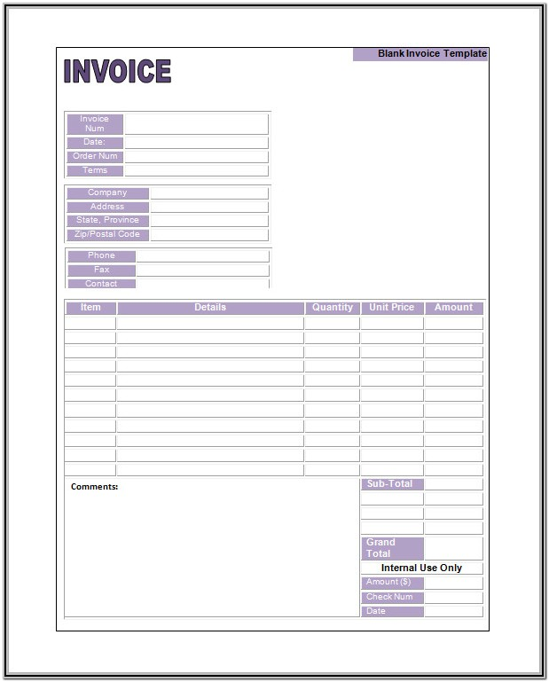 Free Blank Invoice Form
