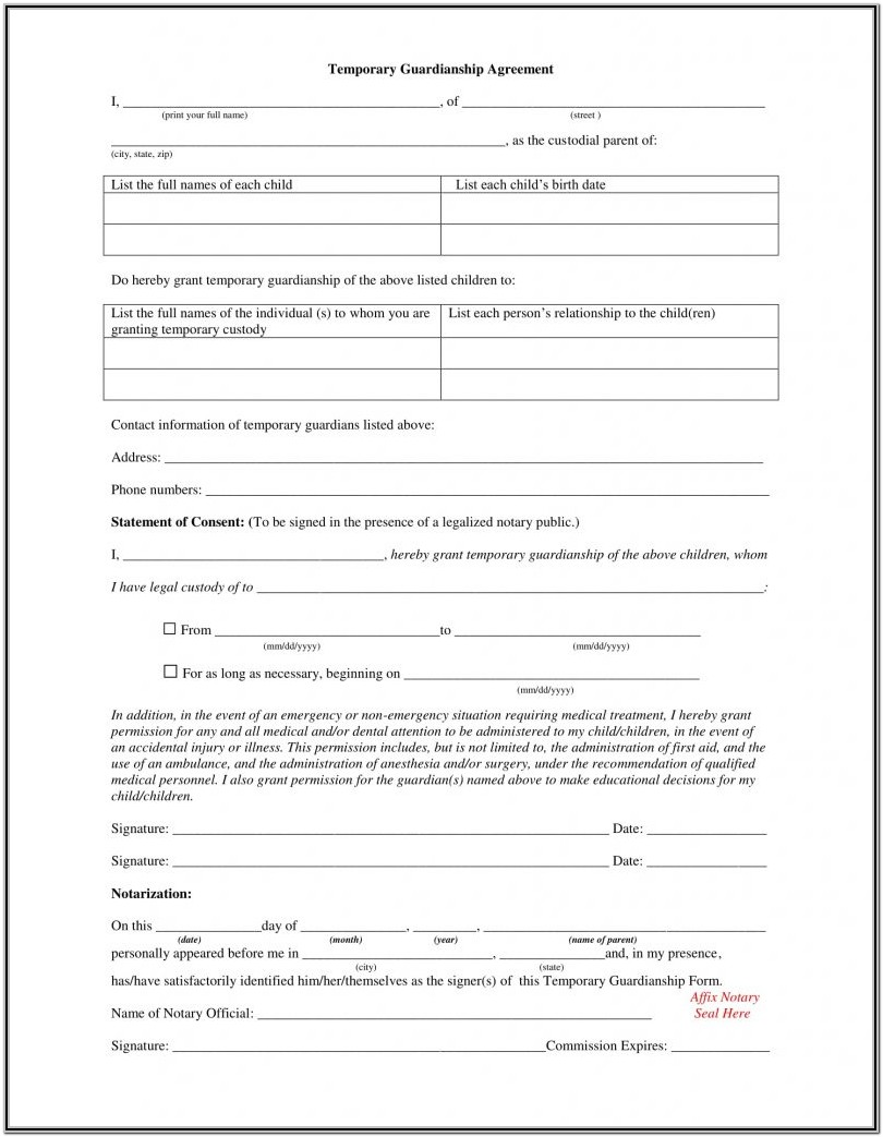 Free Guardianship Forms Ohio
