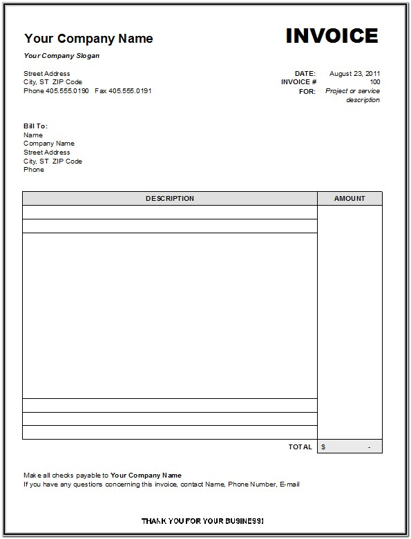 Free Printable Invoice Templates Uk